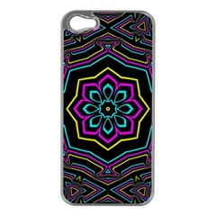 Cyan Yellow Magenta Kaleidoscope Apple iPhone 5 Case (Silver)