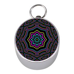 Cyan Yellow Magenta Kaleidoscope Mini Silver Compasses
