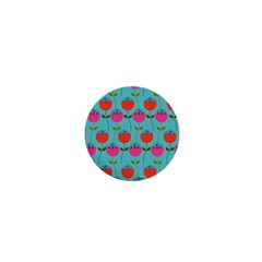 Tulips Floral Background Pattern 1  Mini Buttons