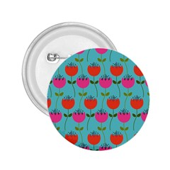 Tulips Floral Background Pattern 2.25  Buttons