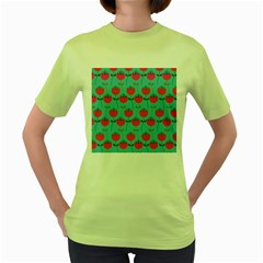 Tulips Floral Background Pattern Women s Green T Shirt