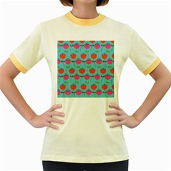 Tulips Floral Background Pattern Women s Fitted Ringer T Shirts