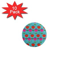 Tulips Floral Background Pattern 1  Mini Magnet (10 pack)