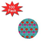 Tulips Floral Background Pattern 1  Mini Buttons (100 Pack)