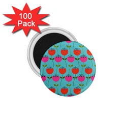 Tulips Floral Background Pattern 1.75  Magnets (100 pack)