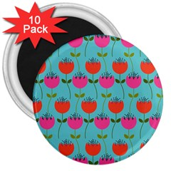 Tulips Floral Background Pattern 3  Magnets (10 pack)