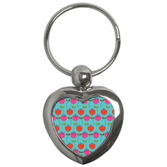 Tulips Floral Background Pattern Key Chains (Heart)