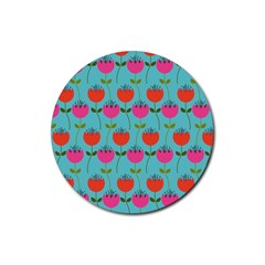Tulips Floral Background Pattern Rubber Round Coaster (4 Pack)