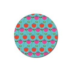 Tulips Floral Background Pattern Magnet 3  (round)