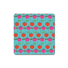 Tulips Floral Background Pattern Square Magnet