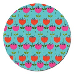 Tulips Floral Background Pattern Magnet 5  (round)