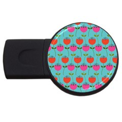 Tulips Floral Background Pattern USB Flash Drive Round (1 GB)