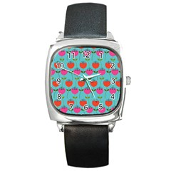 Tulips Floral Background Pattern Square Metal Watch