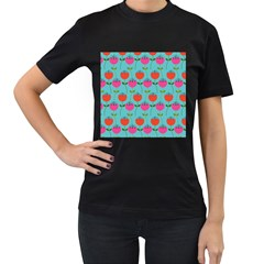 Tulips Floral Background Pattern Women s T-Shirt (Black) (Two Sided)