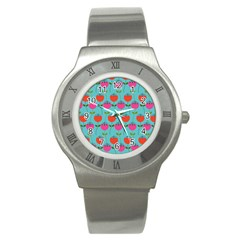 Tulips Floral Background Pattern Stainless Steel Watch