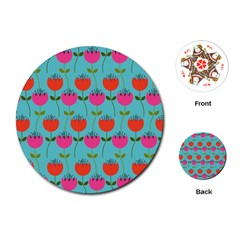 Tulips Floral Background Pattern Playing Cards (round)