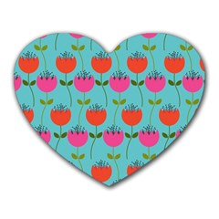 Tulips Floral Background Pattern Heart Mousepads