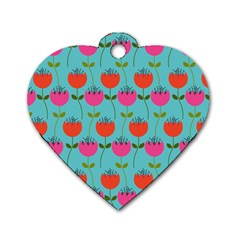 Tulips Floral Background Pattern Dog Tag Heart (one Side)