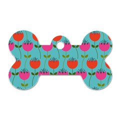 Tulips Floral Background Pattern Dog Tag Bone (two Sides)