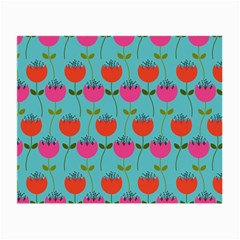 Tulips Floral Background Pattern Small Glasses Cloth (2 Side)