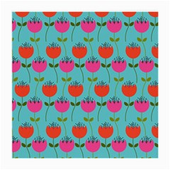 Tulips Floral Background Pattern Medium Glasses Cloth