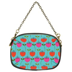 Tulips Floral Background Pattern Chain Purses (One Side)