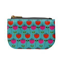 Tulips Floral Background Pattern Mini Coin Purses