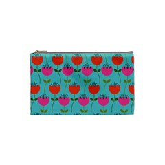 Tulips Floral Background Pattern Cosmetic Bag (small)