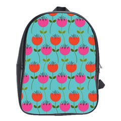 Tulips Floral Background Pattern School Bags(large)