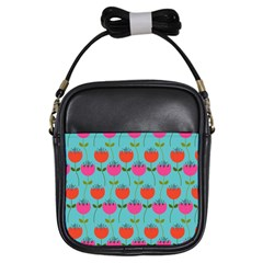 Tulips Floral Background Pattern Girls Sling Bags