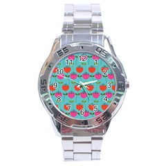 Tulips Floral Background Pattern Stainless Steel Analogue Watch
