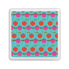 Tulips Floral Background Pattern Memory Card Reader (square)