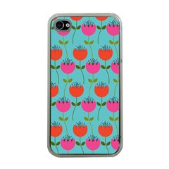 Tulips Floral Background Pattern Apple iPhone 4 Case (Clear)
