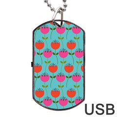 Tulips Floral Background Pattern Dog Tag USB Flash (One Side)