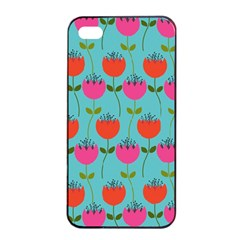 Tulips Floral Background Pattern Apple iPhone 4/4s Seamless Case (Black)