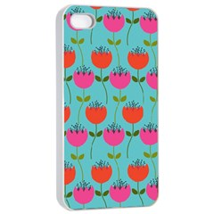 Tulips Floral Background Pattern Apple iPhone 4/4s Seamless Case (White)