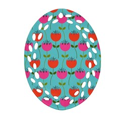 Tulips Floral Background Pattern Oval Filigree Ornament (two Sides)
