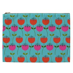 Tulips Floral Background Pattern Cosmetic Bag (XXL)