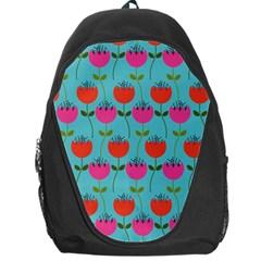 Tulips Floral Background Pattern Backpack Bag