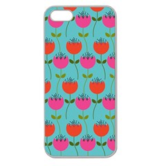 Tulips Floral Background Pattern Apple Seamless iPhone 5 Case (Clear)