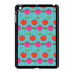 Tulips Floral Background Pattern Apple iPad Mini Case (Black)
