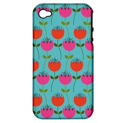 Tulips Floral Background Pattern Apple iPhone 4/4S Hardshell Case (PC+Silicone)