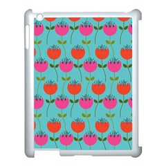 Tulips Floral Background Pattern Apple iPad 3/4 Case (White)