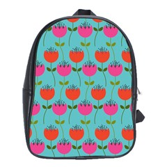 Tulips Floral Background Pattern School Bags (XL)