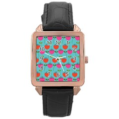 Tulips Floral Background Pattern Rose Gold Leather Watch