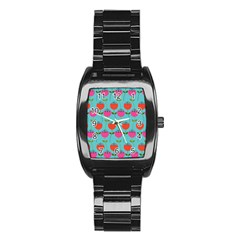 Tulips Floral Background Pattern Stainless Steel Barrel Watch