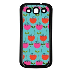 Tulips Floral Background Pattern Samsung Galaxy S3 Back Case (Black)