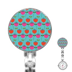 Tulips Floral Background Pattern Stainless Steel Nurses Watch