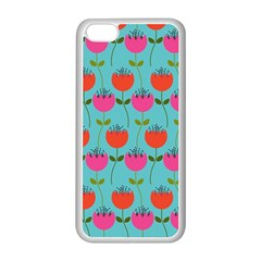 Tulips Floral Background Pattern Apple iPhone 5C Seamless Case (White)