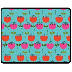 Tulips Floral Background Pattern Double Sided Fleece Blanket (medium)